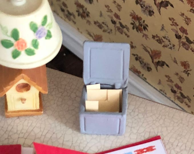 Miniature File Box, Mini Card File Box, Dollhouse Miniature, 1:12 Scale, Dollhouse Accessory, Office Desk Decor, Crafts