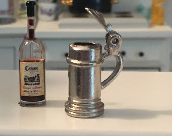 Miniature Beer Stein, Mini Silver Beer Stein, Dollhouse Miniatures, 1:12 Scale, Miniature Dollhouse Accessory, Decor