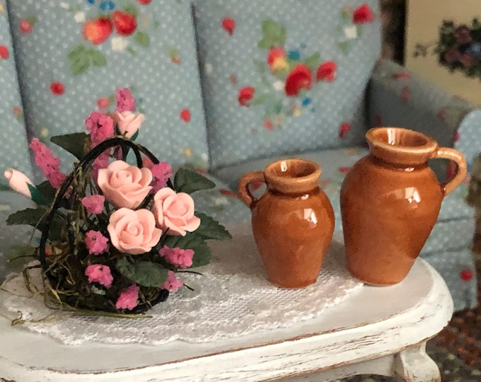 Miniature Jugs, Set of 2 Ceramic Handle Jugs, Style #60, Dollhouse Miniatures, 1:12 Scale, Dollhouse Decor, Accessories, Crafts