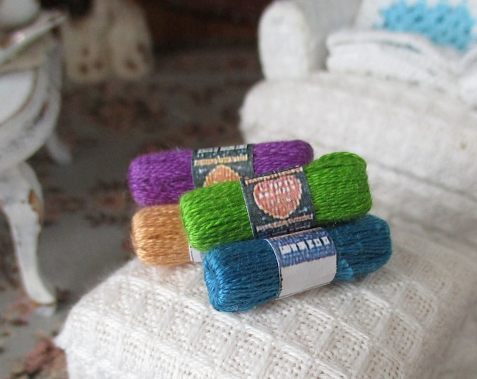 Miniature Yarn, 5 Skeins Choose Color Set, Dollhouse Miniature, 1:12 Scale, Dollhouse Accessories, Decor, Mini Knitting, Crochet