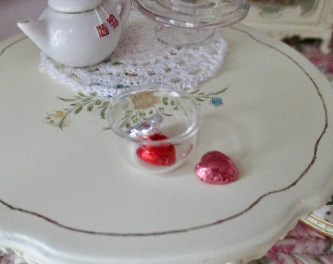 Miniature Hearts And Bowl Set, Mini Foil Heart With Glass Bowl, Valentine Decoration, Dollhouse Miniatures, 1:12 Scale, Holiday Decor