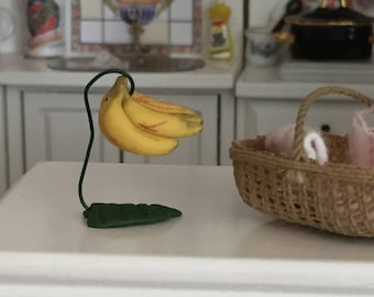 Miniature Banana Tree Stand With Bananas, Dollhouse Miniature, 1:12 Scale, Dollhouse Food, Miniature Food, Accessory, Decor, Crafts