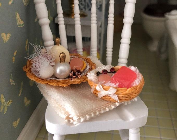 Miniature Bathroom Accessory Set, Beige Towel, Filled Baskets, Soaps, Perfumes, Dollhouse Miniature, 1:12 Scale, Bathroom Decor