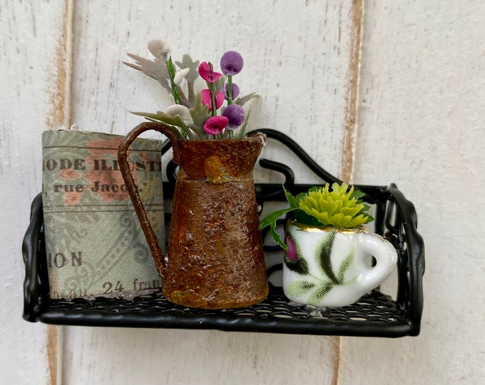 Miniature Decorated Metal Black Wall Shelf, Shelf with Book, Plant, Watering Can, Style #2, Dollhouse Miniature, 1:12 Scale, Dollhouse Decor