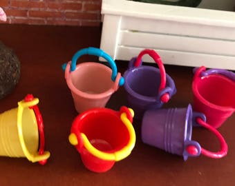 Miniature Pails, Colored Plastic Pails With Handles, 6 Piece Set,  Dollhouse Miniature, 1:12 Scale, Dollhouse Accessory, Decor, Crafts