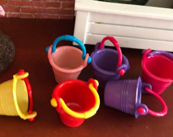 Miniature Pails, Colored Plastic Pails With Handles, 6 Piece Set,  Dollhouse Miniature, 1:12 Scale, Dollhouse Accessory, Decor, Crafts