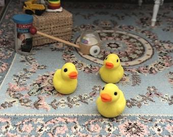 Miniature Ducks, Set of 3 Plastic Mini Ducks, Chicks, Yellow Ducks, Crafts, Embellishments, Toppers
