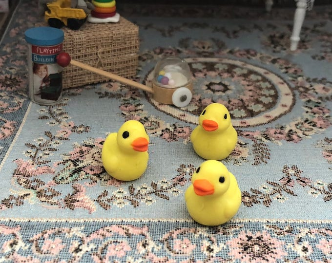 Miniature Ducks, Set of 3 Plastic Mini Ducks, Chicks, Yellow Ducks, Crafts, Embellishments, Toppers