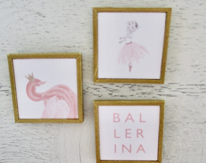 Miniature Framed Pictures, Miniature Ballerina Pictures, 3 Piece Set, Mini Gold Wood Frame Pictures,  Dollhouse Miniatures, 1:12 Scale