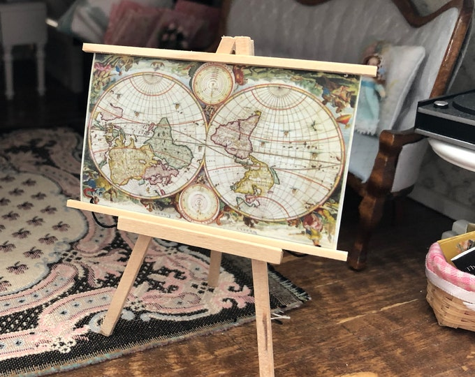 Miniature Map, Wall Banner Map, Ancient Look Map Banner, Dollhouse Miniature, 1:12 Scale, Dollhouse Decor, Accessory, Mini World Map
