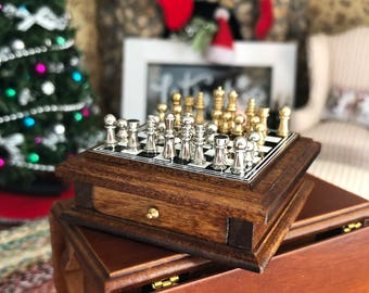 Miniature Chess Set, Table Chess Set, Walnut Wood Board With Storage Drawer, Dollhouse Miniature, 1:12 Scale, Dollhouse Accessory, Game