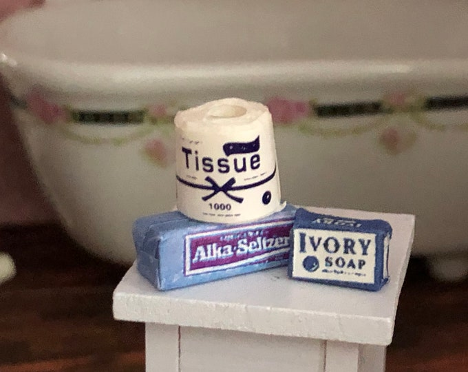 Miniature Bathroom Set, Tissue Roll Soap Bar and Seltzer Box, Dollhouse Miniatures, 1:12 Scale, Dollhouse Bathroom Accessories, Decor