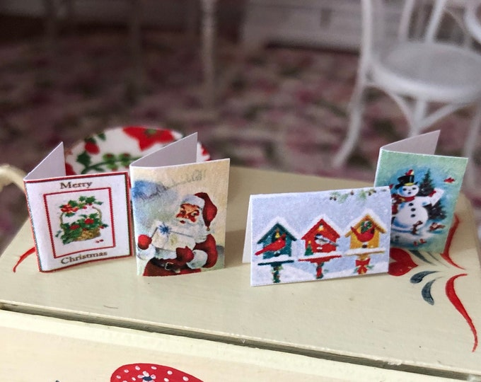 Miniature Cards, Christmas Card Set, 4 Pieces, Dollhouse Miniature, 1:12 Scale, Holiday Decor, Miniature Accessories