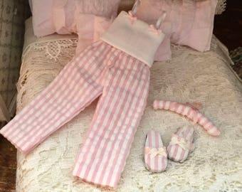 Miniature Pajamas, Pink PJs, 3 Piece Set, Dollhouse Miniature, 1:12 Scale, Miniature Accessory, Decor, Crafts