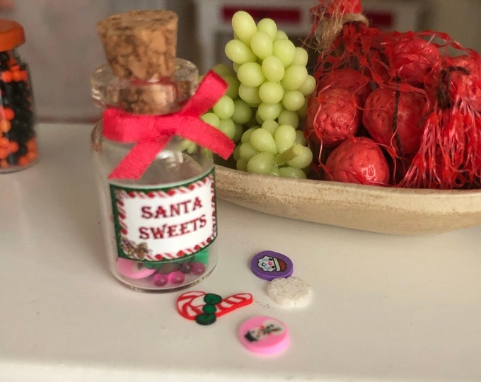 Miniature Santa Sweet Jar, Mini Candy Jar with Cork Top, Dollhouse Miniature, 1:12 Scale, Dollhouse Holiday Decor, Accessory