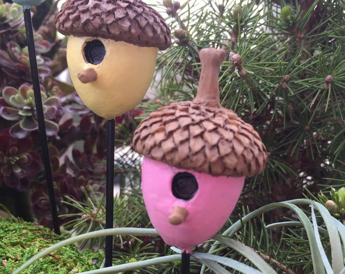 Mini Acorn Birdhouse Pick, Pink Acorn Pick, Fairy Garden, Miniature Garden Accessory, Mini Bird House, Garden Decoration