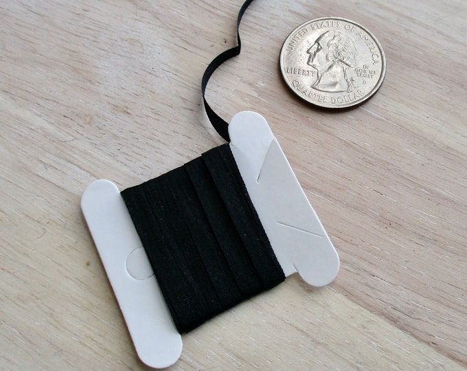 Silk Ribbon, 2 Yards, Black 100 Percent Pure Silk Ribbon, 2 Yards, 4 MM Ribbon