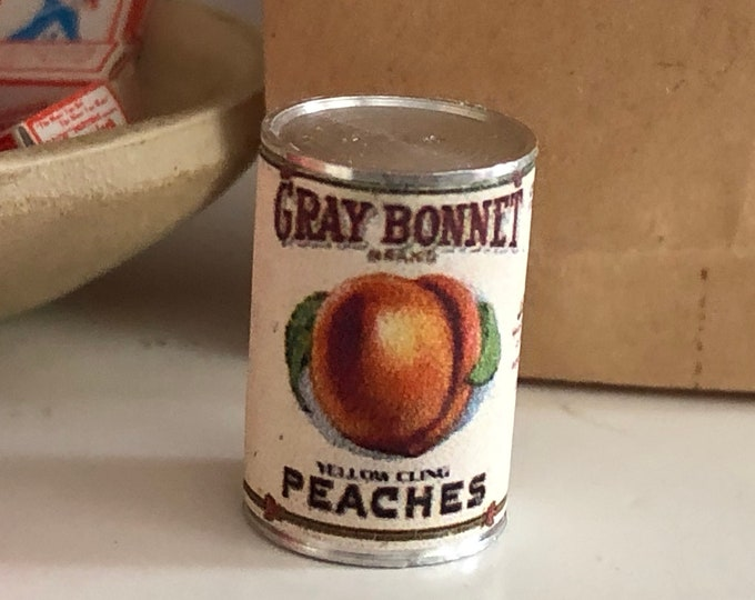 Miniature Peaches Can, Dollhouse Miniature, 1:12 Scale, Dollhouse Food, Mini Food Can, Dollhouse Accessory, Decor, Holiday Food