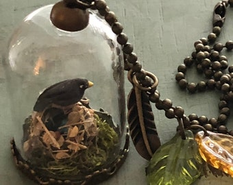Glass Pendant Necklace With Mini Bird, Nest and Eggs. Style JF8-1, Nest Under Glass Necklace, Includes Charms and Chain, Gift, Topper