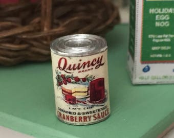 Miniature Cranberry Sauce Can, Dollhouse Miniature, 1:12 Scale, Dollhouse Food, Pretend Food Can, Dollhouse Accessory, Decor, Holiday Food