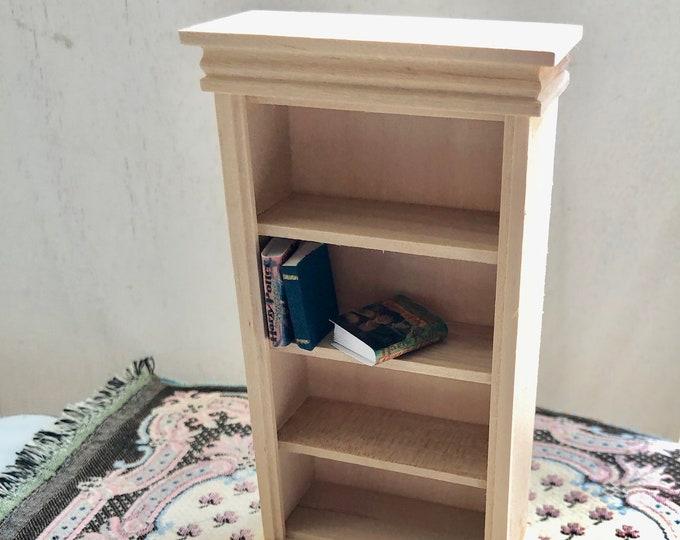 Miniature Unfinished Book Case, Mini Wood Book Shelf, Dollhouse Miniature Furniture, 1:12 Scale