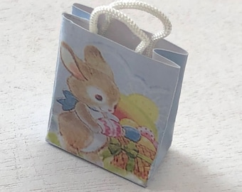 Miniature Easter Bunny Bag, Handle Paper Bag, Dollhouse Miniature, 1:12 Scale, Dollhouse Accessory, Decor, Crafts