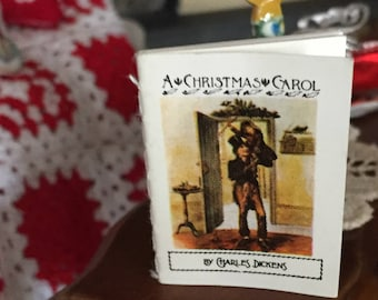 "Miniature Book, ""A Christmas Carol"", Antique Repro Readable Book with Illustrations, Dollhouse Miniature, 1:12 Scale, Mini Book with Text"