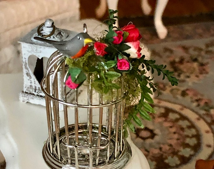 Miniature Decorated Bird Cage with Bird and Roses, Dollhouse Miniature, 1:12 Scale, Dollhouse Decor, Accessory