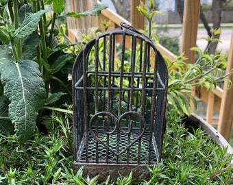 Mini Rustic Birdcage, Small Distressed Metal Birdcage Style 1, Home and Garden Decor, Accent, Crafts, Shelf Sitter, Gift