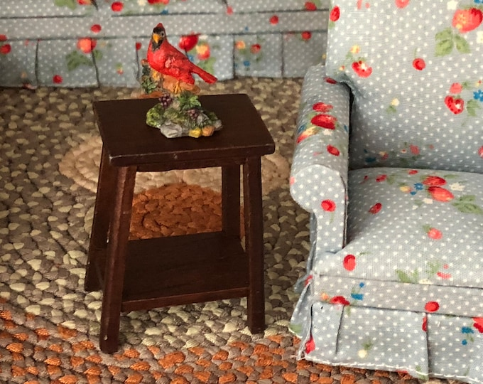 Miniature Fern Stand, Wood Side Table, Mini Wood Table, Dollhouse Miniature, 1:12 Scale, Dollhouse Furniture, Decor, Crafts
