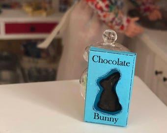 Miniature Chocolate Bunny, Mini Bunny in Box, Easter Decoration, Dollhouse Miniature, 1:12 Scale, Dollhouse Accessory, Decor, Crafts