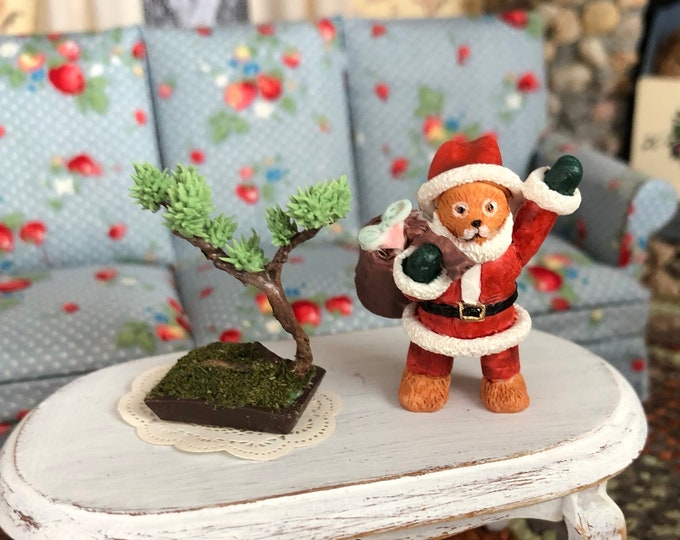 Miniature Santa Bear Figurine, Holiday Statuette, Mini Bear Figurine, Dollhouse Miniature, 1:12 Scale, Holiday Decor, Accessory, Mini Bear