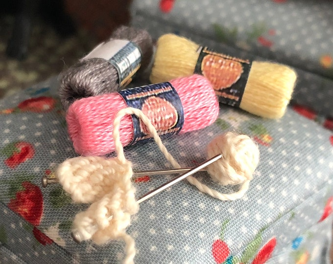 Miniature Knitting in Progress With Yarn, Mini Yarn Skeins, Pick Colors, Dollhouse Miniature, 1:12 Scale, Dollhouse Accessories