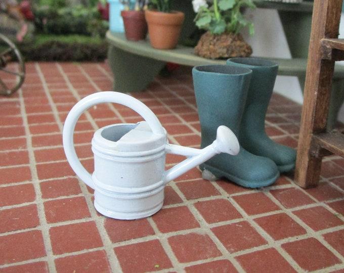 Miniature Watering Can, White Metal Watering Can, Dollhouse Miniature, 1:12 Scale, Miniature Gardening, Fairy Garden,Home & Garden
