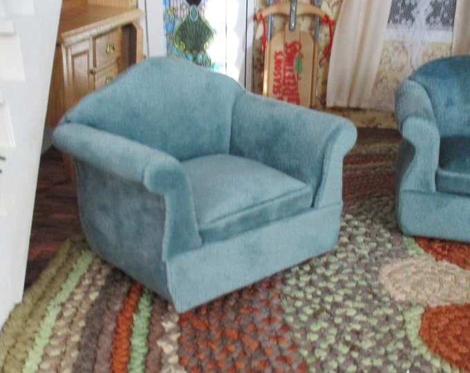 Miniature Chair, Mini Teal Armchair, Plush Chair, Dollhouse Furniture 1:12 Scale, Style #24, Dollhouse Chair, Decor, Mini Arm Chair