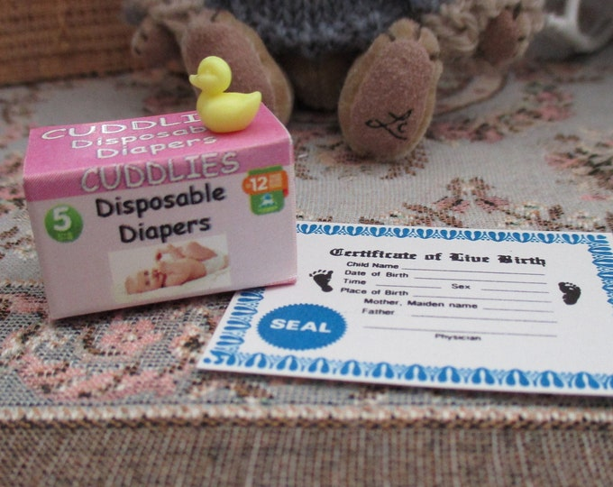 Miniature Pink Diaper Box, Birth Certificate And Duck Set, Mini Baby Items, 3 Piece Set, Dollhouse Miniatures, 1:12 Scale