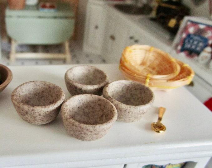 Miniature Bowls, Stone Finish Ceramic Bowls, 4 Piece Set, Style #67, Dollhouse Miniature, 1:12 Scale, Dollhouse Accessory, Kitchen Decor