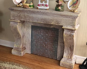 Miniature Fireplace, Stone and Brick Aged Look Fireplace  by Ruetter, Dollhouse Miniature, 1:12 Scale, Dollhouse Miniature, Made in Germany
