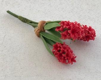 Miniature Hyacinth, Red Hyacinth Flower Bunch, Style 05RD, Dollhouse Miniature, Dollhouse 1:12 Scale, Miniature Flowers
