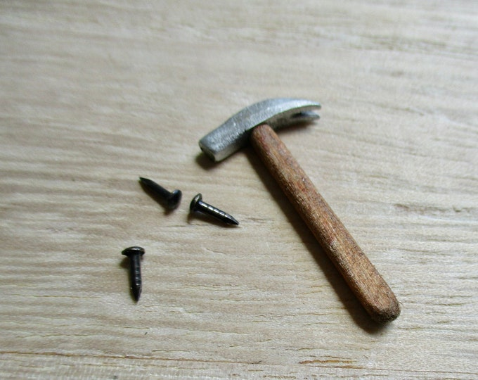 Miniature Hammer And Nails Set, Handcrafted Claw Hammer And 3 Nails, Style #73, Dollhouse Miniature, 1:12 Scale, Mini Tools