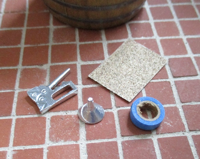 Miniature Tools, Staple Gun, Funnel, Painters Tape And Sand Paper Sheet, Mini House Items, 4 Pcs, Style #1, Dollhouse Miniatures, 1:12 Scale