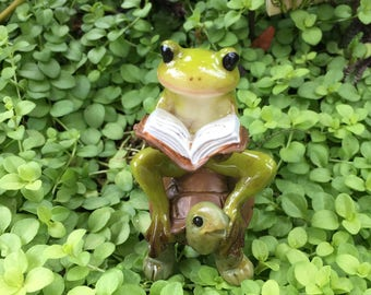 Miniature Frog on Turtle Reading A Book Figurine, Style 4396, Miniature Garden Accessory, Home and Garden Decor, Topper, Shelf Sitter