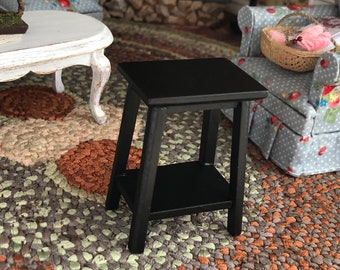 Miniature Table, Mini Black Wood Fern Stand Side Table, Dollhouse Miniature Furniture, 1:12 Scale, Mini Table With Bottom Shelf