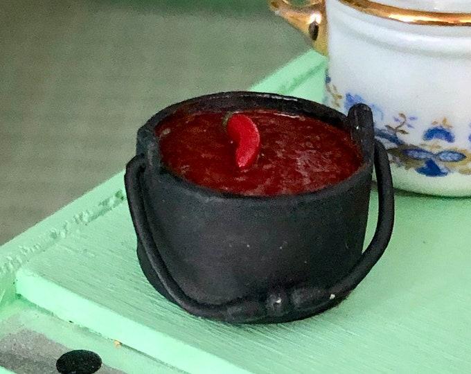 Miniature Chili, Mini Chili in Black Kettle Pot, Dollhouse Miniature, 1:12 Scale, Miniature Food, Dollhouse Food, Decor