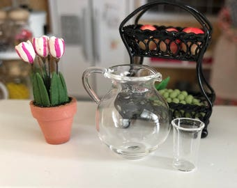 Miniature Glass Pitcher and Cup, Mini Water Pitcher and Glass Set, Dollhouse Miniature, 1:12 Scale, Dollhouse Decor, Accessory, Crafts