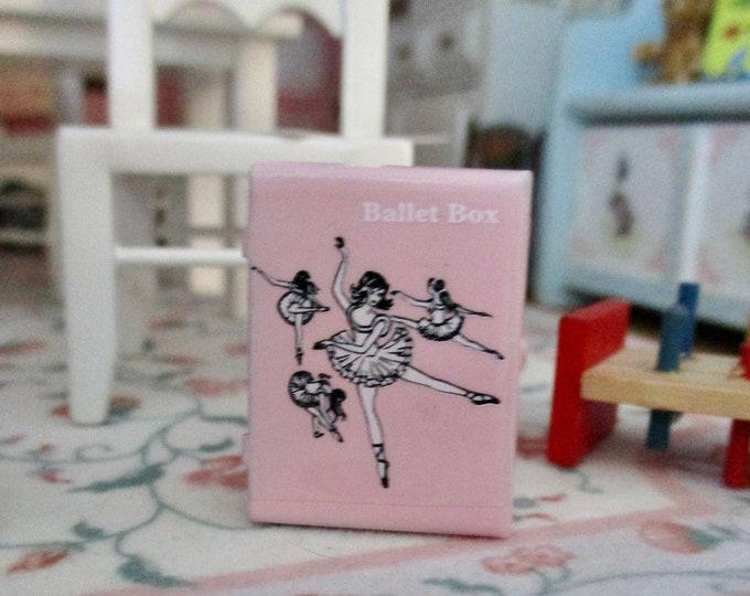 Miniature Ballet Box, Mini Pink Metal Ballerina Box Style #44, Dollhouse Miniature, 1:12 Scale, Dollhouse Decor Accessory