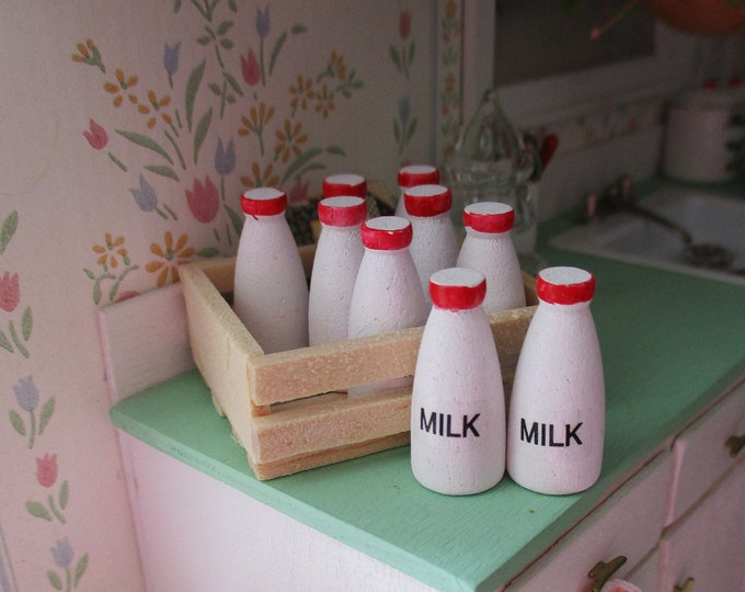 Miniature Milk Bottles And Wood Crate, 9 Piece Set, Dollhouse Miniatures, 1:12 Scale, Mini Milk and Wood Box