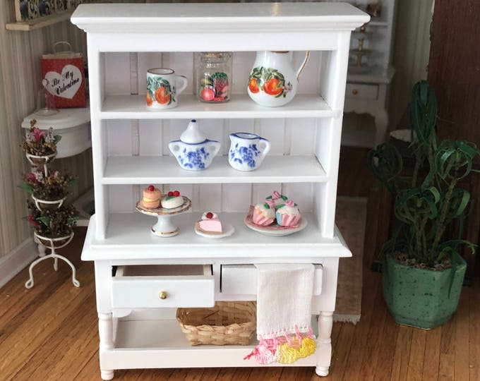 Miniature Hutch, Two Drawer Hutch with Bottom Shelf, Dollhouse Miniature, 1:12 Scale, Dollhouse Furniture, Wood Hutch
