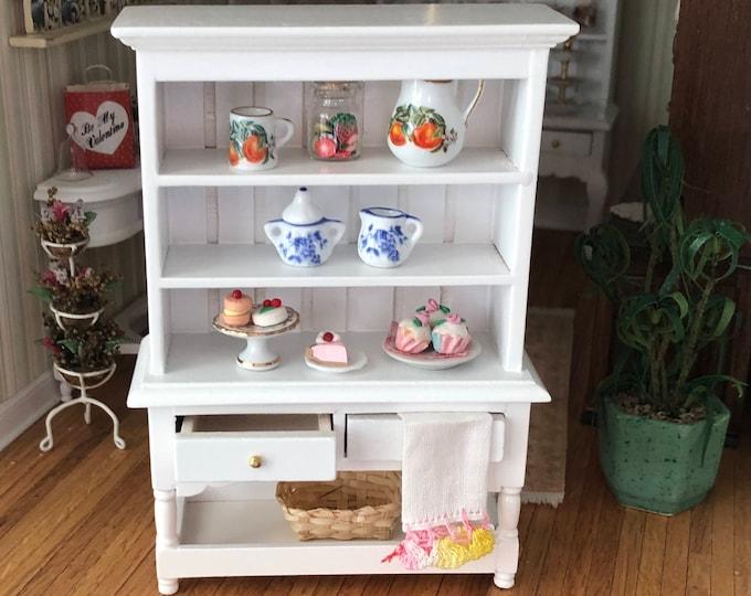 Miniature Hutch, Two Drawer Hutch with Bottom Shelf, Dollhouse Miniature, 1:12 Scale, Dollhouse Furniture, Wood Hutch