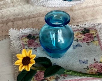 Miniature Glass Vase, Aqua Vase, Dollhouse Miniature, 1:12 Scale, Dollhouse Accessory, Decor, Mini Vase, Crafts, Floral, Embellishment